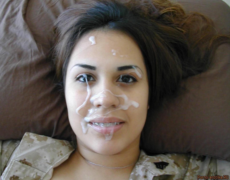 Телка со спермой на лице частное фото фото 81-886